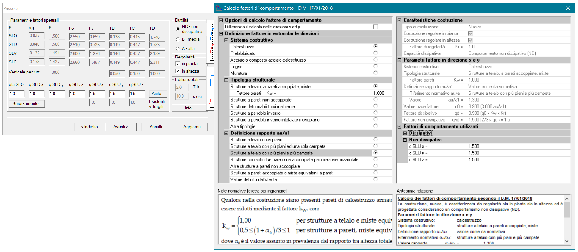 PRO_SAP calcolo fattore di comportamento