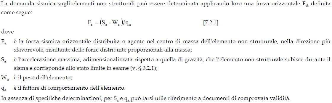 §7.2.3 DM2018 - Definizione della domanda per l'elemento non strutturale