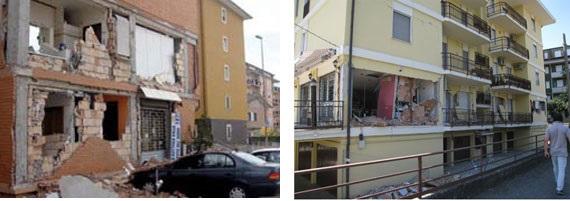 Ribaltamento di elementi non strutturali (tamponamenti) a seguito del terremoto de L'Aquila del 2009