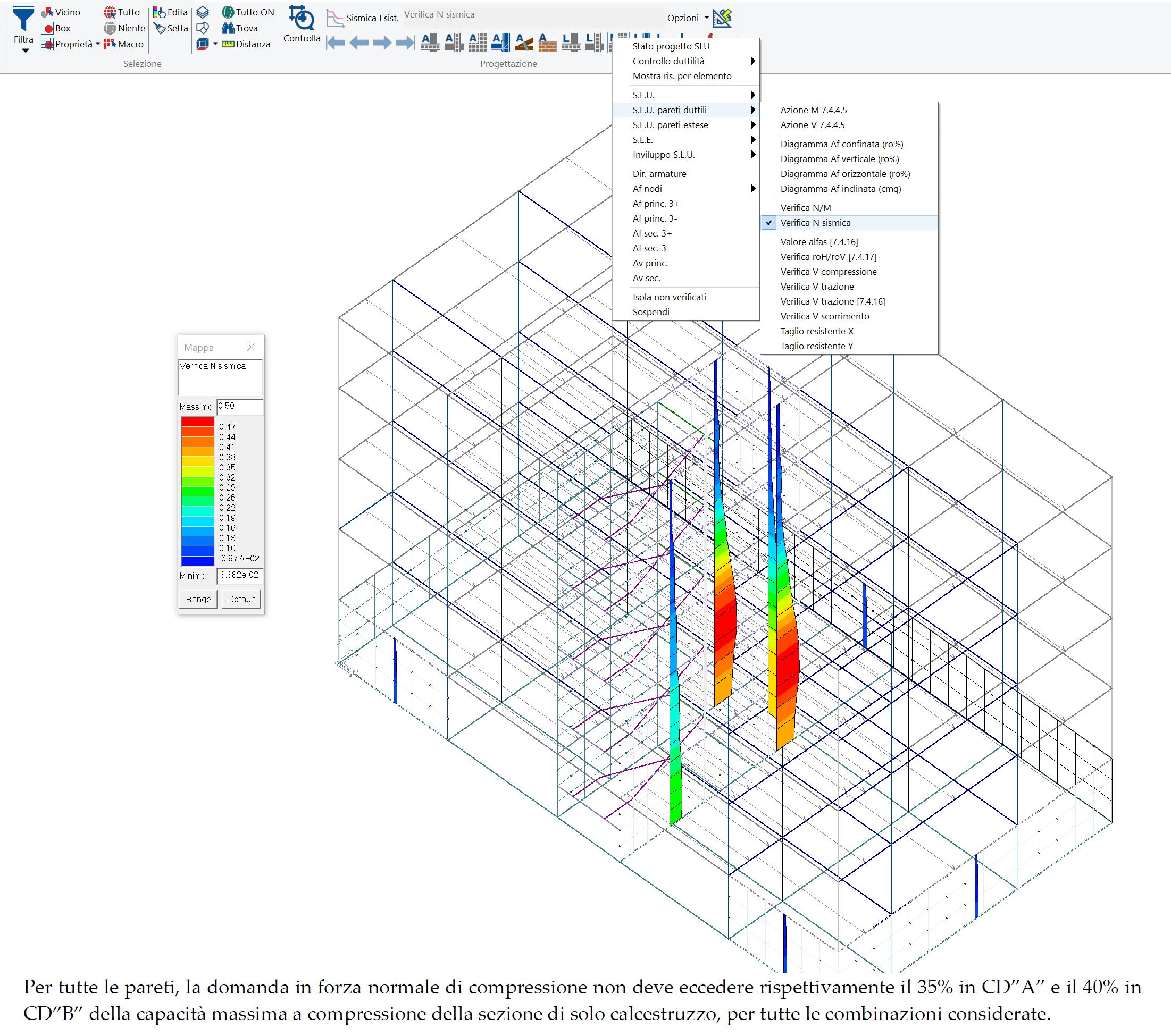 PROSAP: mappa delle verifiche a compressione per le pareti duttili