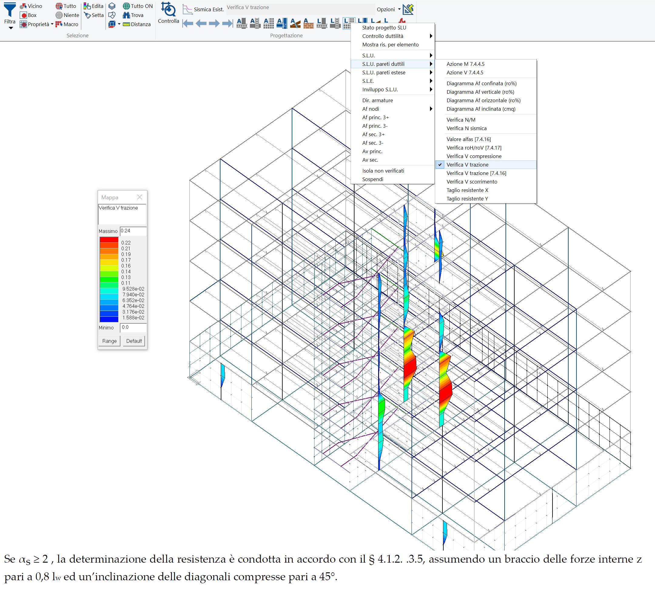 PROSAP: mappa delle verifiche a taglio lato acciaio per le pareti duttili