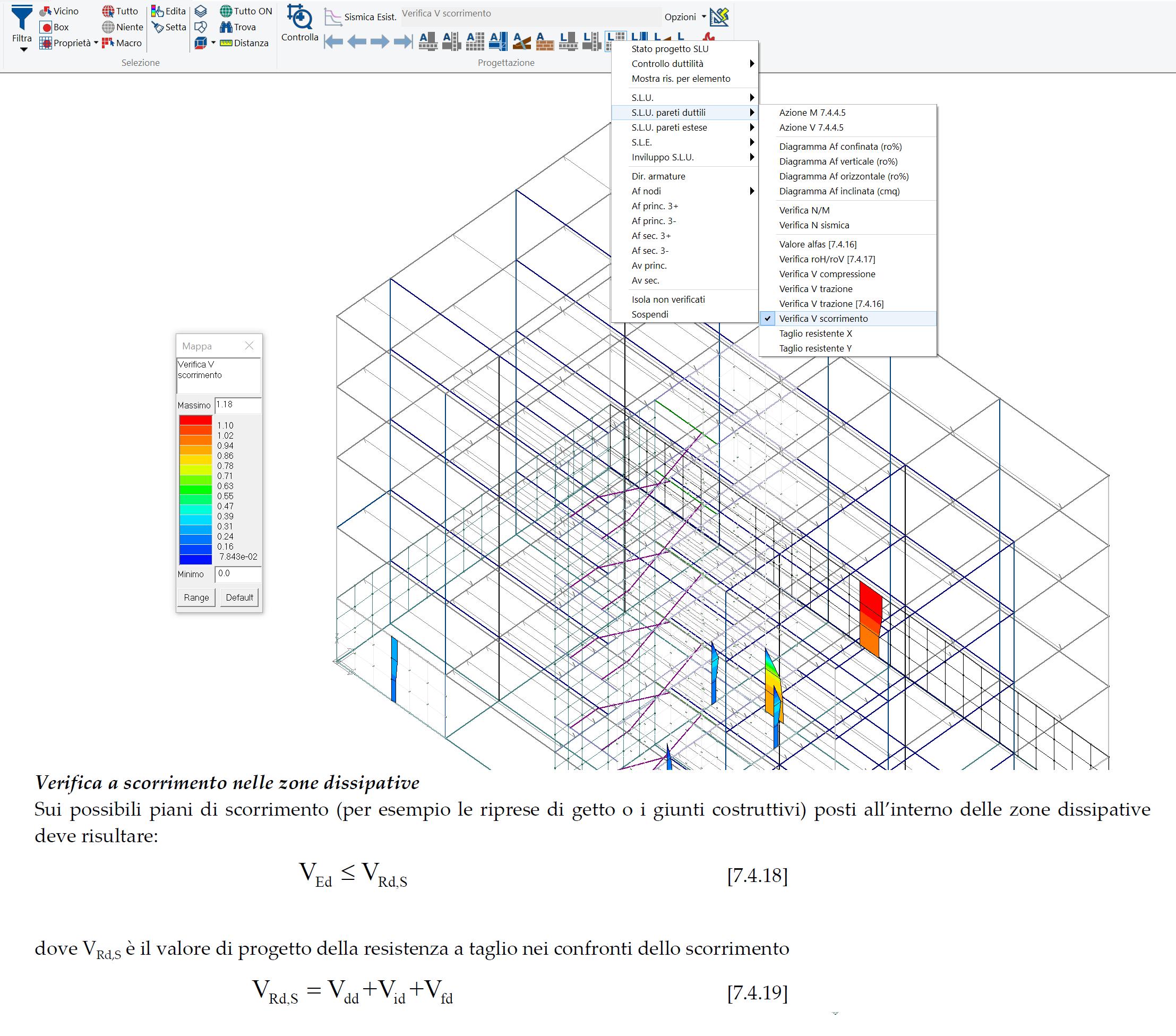 PROSAP: mappa delle verifiche a scorrimento per le pareti duttili