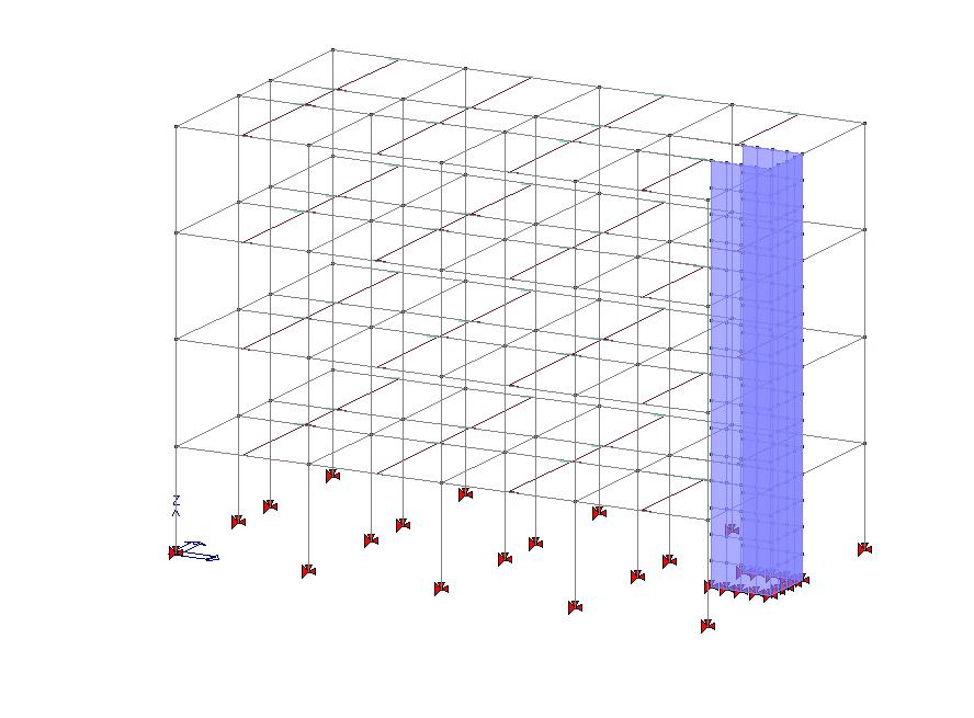 Struttura a telaio deformabile torsionalmente con un nucleo ascensore inserito in posizione eccentrica