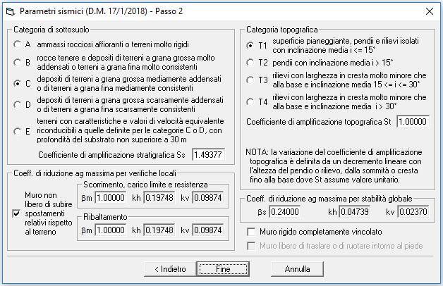 Parametri sismici (DM 17/1/2018) - Passo 2