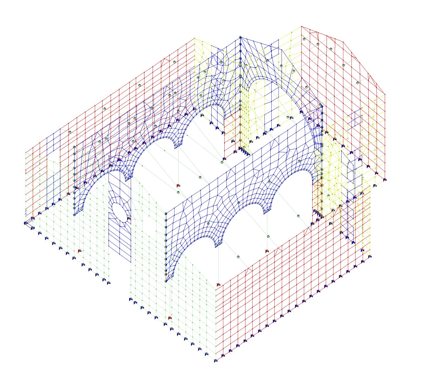 Vista 3D modello di calcolo struttura in muratura