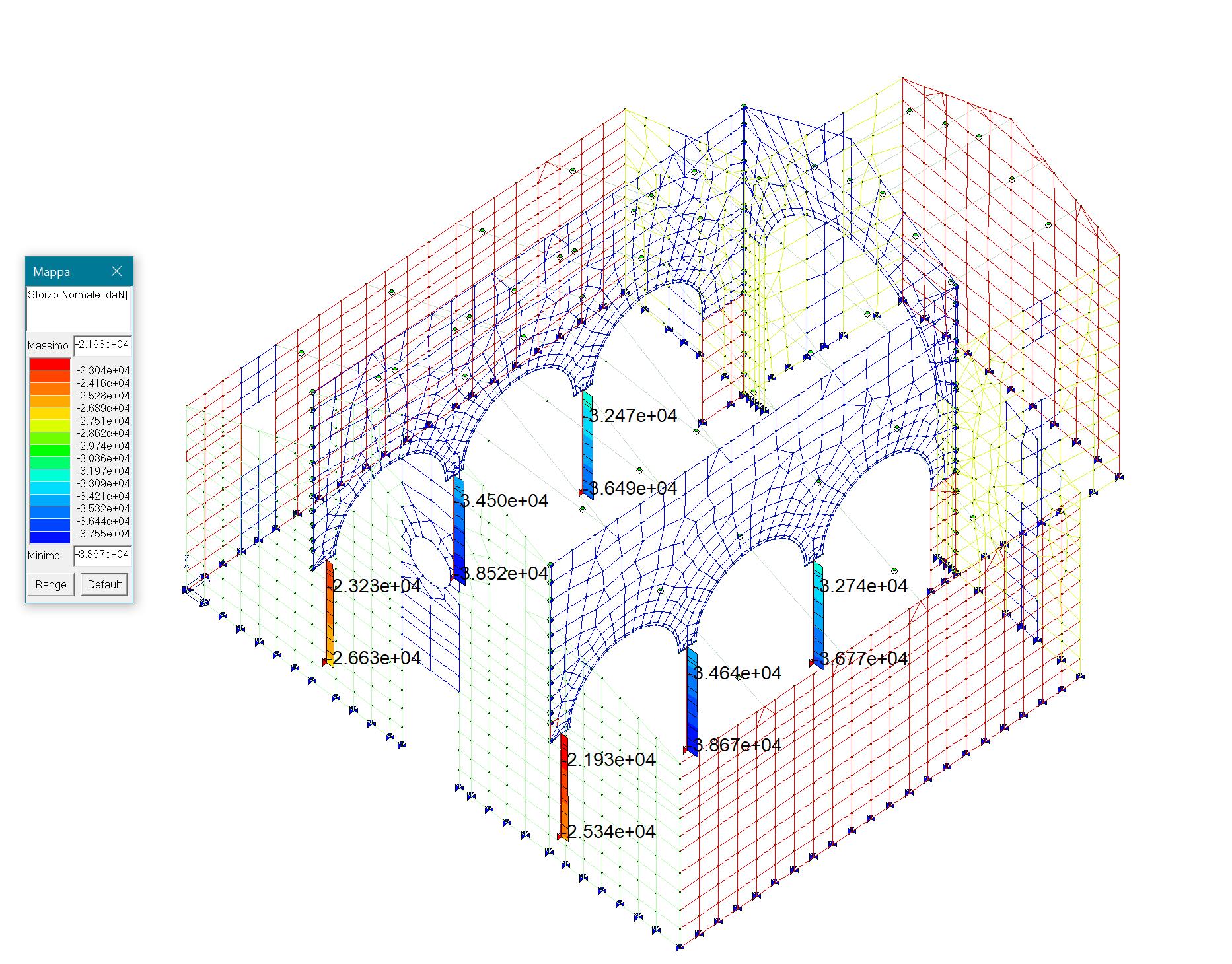 Risultati verifica a compressione colonne in muratura
